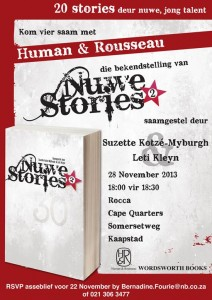Nuwe Stories 2013 Book Launch Invitation.